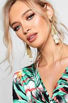 Boohoo Lucia Metallic Tiered Tassel Earrings