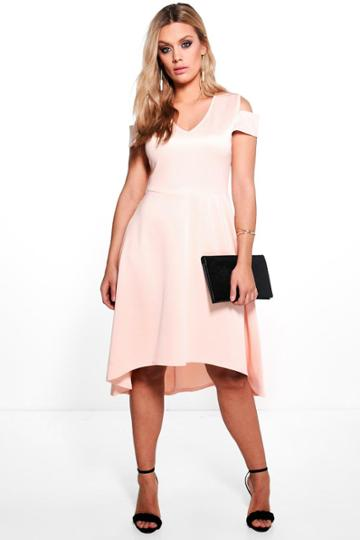 Boohoo Plus Sara Open Shoulder Skater Dress Blush