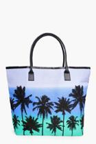 Boohoo Lucy Palm Scene Beach Bag Blue