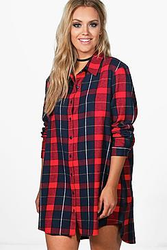 Boohoo Plus Paige Checked Oversize Shirt Dress