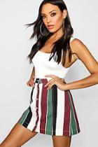 Boohoo Bold Stripe Button Through Denim Skirt