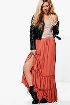 Boohoo Raina Ruffle Hem Chiffon Maxi Skirt
