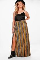 Boohoo Plus Elise Printed Split Maxi Skirt