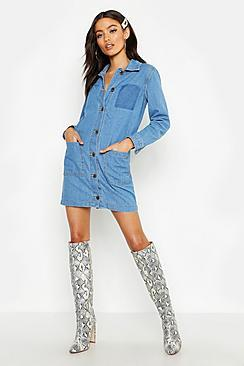 Boohoo Petite Button Through Denim Shirt Dress