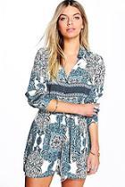 Boohoo Sophie Shirt Style Tile Print Playsuit