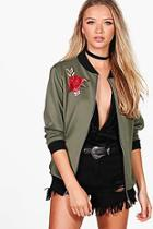 Boohoo Leah Embroidered Bomber Jacket