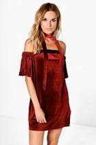Boohoo Alex Off Shoulder Velvet Aline Dress
