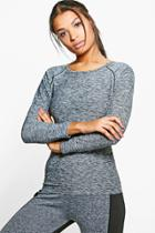 Boohoo Molly Fit Longsleeve Running Tee Grey