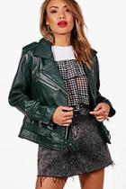 Boohoo Lily Leather Biker Jacket