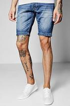 Boohoo Blue Wash Slim Fit Denim Shorts