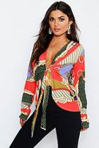 Boohoo Chain Print Tie Front Woven Blouse