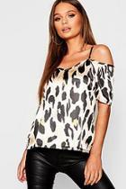 Boohoo Leopard Print Cold Shoulder Cami