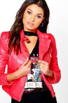 Boohoo Kayla Quilted Sleeve Faux Leather Biker Jacket Red