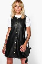 Boohoo Morris Button Popper Pu Pinafore Dress