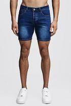 Boohoo Skinny Fit Denim Shorts With Tape Detail