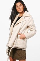 Boohoo Kimberly Faux Fur Collar Longline Biker Jacket Beige