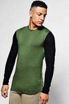 Boohoo Longsleeve Muscle T-shirt With Contrast Sleeves