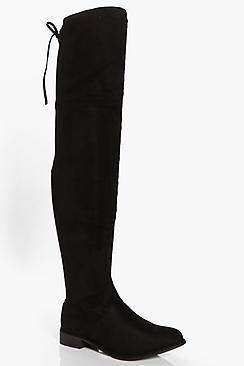 Boohoo Taylor Flat Thigh High Boot
