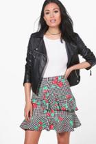 Boohoo Eva Gingham Floral Ruffle Wrap Mini Skirt Black