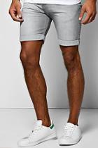 Boohoo Skinny Fit Light Grey Denim Shorts In Mid Length