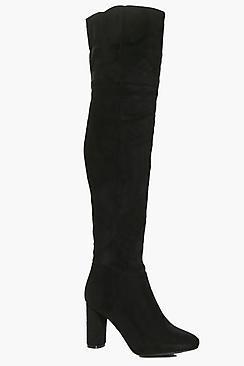 Boohoo Nancy Block Heel Thigh High Boot