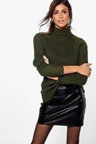 Boohoo Abi Funnel Neck Distressed Jumper