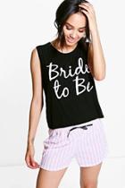 Boohoo Petite Bride To Be Pyjama Short Set Multi