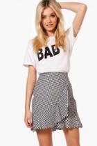 Boohoo Madison Ruffle Front Woven Checked Mini Skirt Black