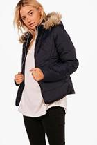 Boohoo Nadia Fitted Padded Jacket With Faux Fur Hood