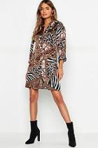 Boohoo Mixed Animal Scarf Print Shirt Dress