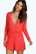 Boohoo Aveline Wrap Front Jersey Playsuit
