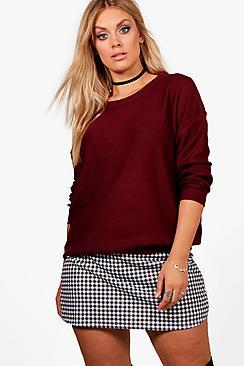 Boohoo Plus Tanya Boxy Scoop Neck Jumper