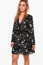 Boohoo Plus Hannah Floral Plunge Neck Shift Dress Multi