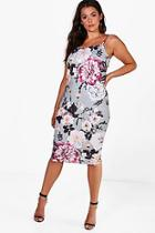 Boohoo Plus Chrissie Floral Strappy Midi Dress