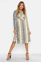 Boohoo Mixed Animal Print Knot Front Roll Neck Skater Dress