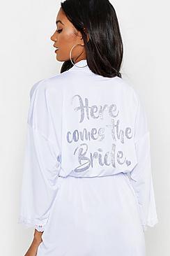 Boohoo 'here Comes The Bride' Lace Trim Robe