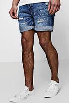 Boohoo Slim Fit Paint Splatted Denim Shorts