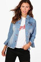Boohoo Petite Hollie Frayed Vintage Wash Denim Jacket