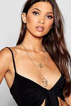 Boohoo Face & Coin Layered Necklace