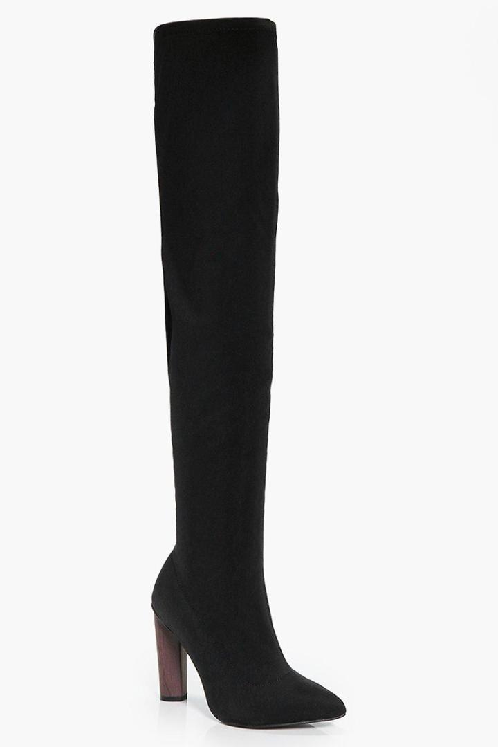 Boohoo Keira Thigh High Boot Black
