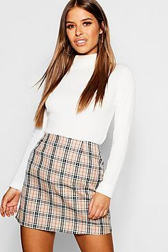 Boohoo Petite Woven Check Mini Skirt