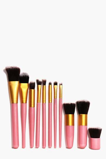 Boohoo 11 Piece Make Up Brush Set Pink