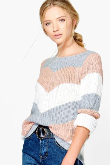 Boohoo Katerina Contrast Striped Jumper Blush