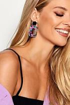 Boohoo Holly Rectangle Resin Earrings