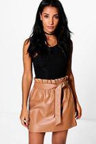Boohoo Tamison Paperbag Waist Leather Look Skirt