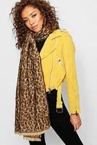 Boohoo All Over Leopard Woven Scarf
