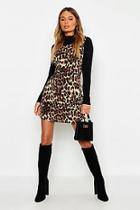 Boohoo Cord Leopard Print Pinafore Dress