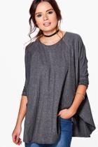 Boohoo Olivia Oversized Longsleeve T-shirt Grey
