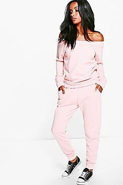 Boohoo Cara Loop Back Bardot Top + Lounge Jogger Set