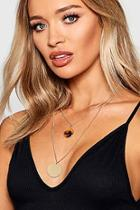 Boohoo Tortoiseshell Coin Layered Necklace
